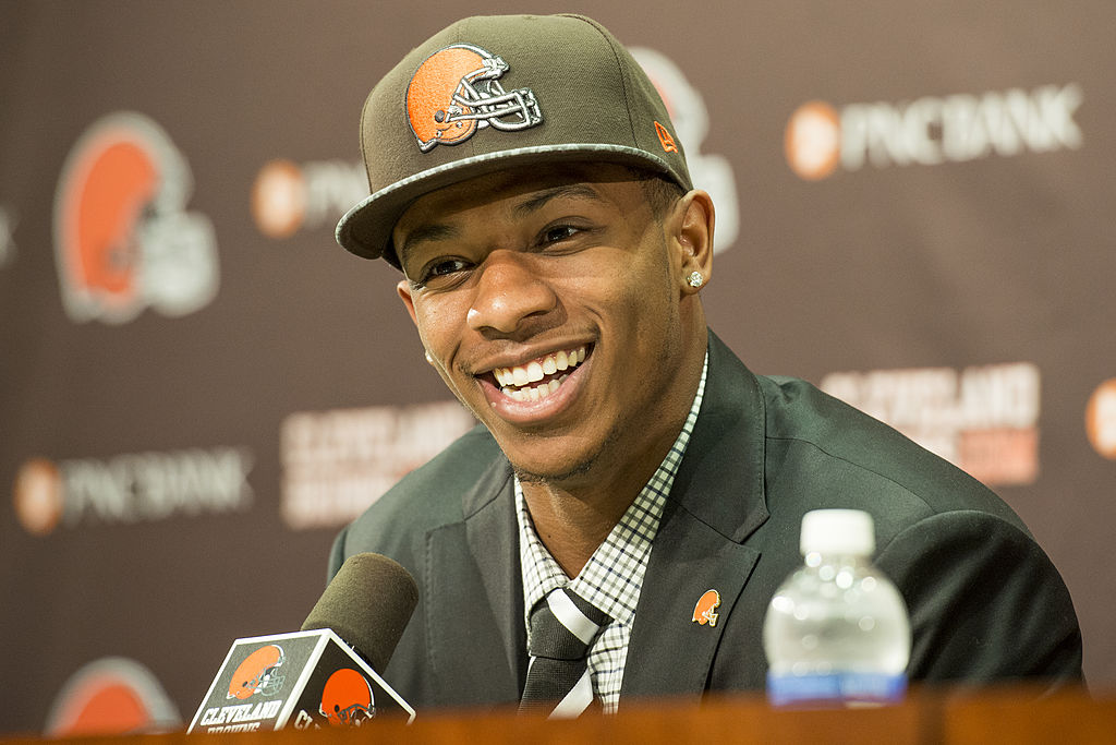 Cleveland Browns draft pick Justin Gilbert answers questions during a press conference.