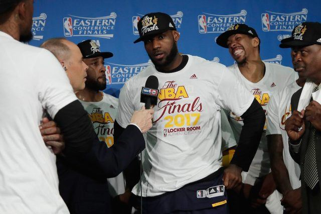 LeBron and the Cavs are interviewed after beating Boston in the ECF.