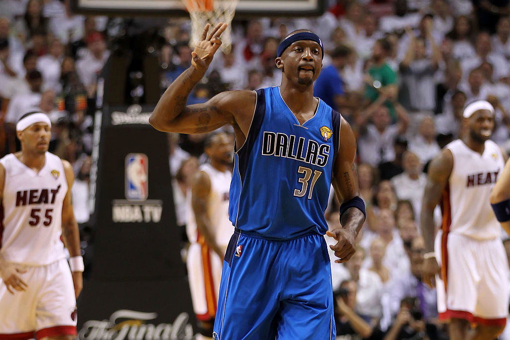 Jason Terry celebrates a shot during the NBA Finals.