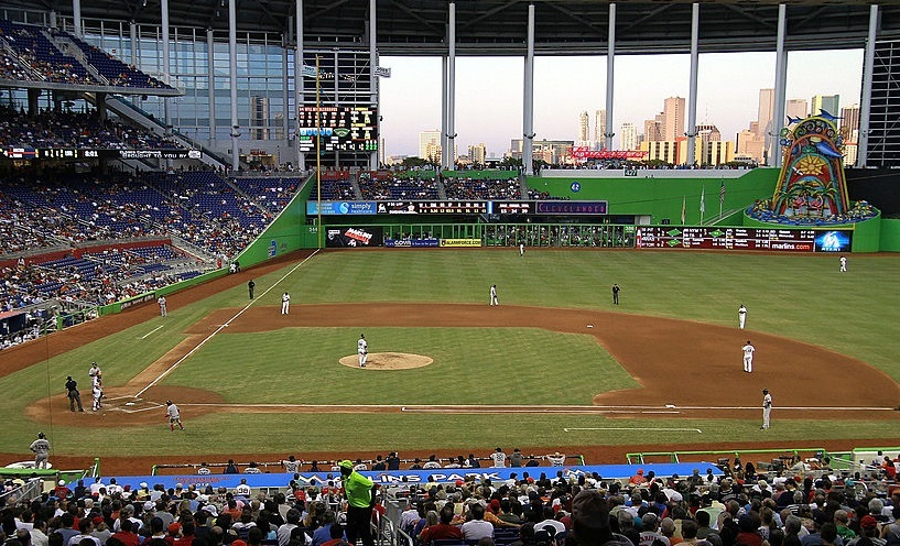 A general view of the outfield with the roof and windows open at Marlins Park in Miami, Florida