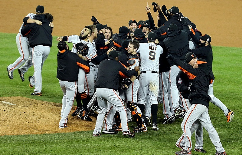The San Francisco Giants celebrate following a four-game sweep of the Detroit Tigers in the 2012World Series.