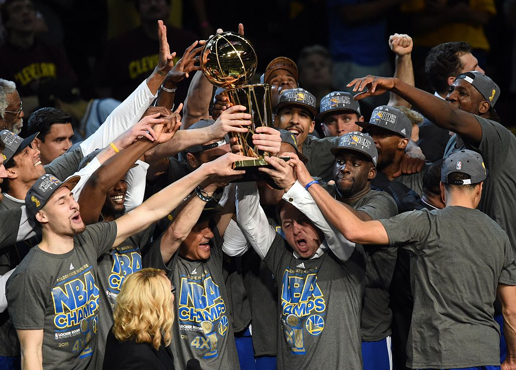 Golden State Warriors celebrate after defeating the Cleveland Cavaliers in Game 6 to win the 2015 NBA Finals.