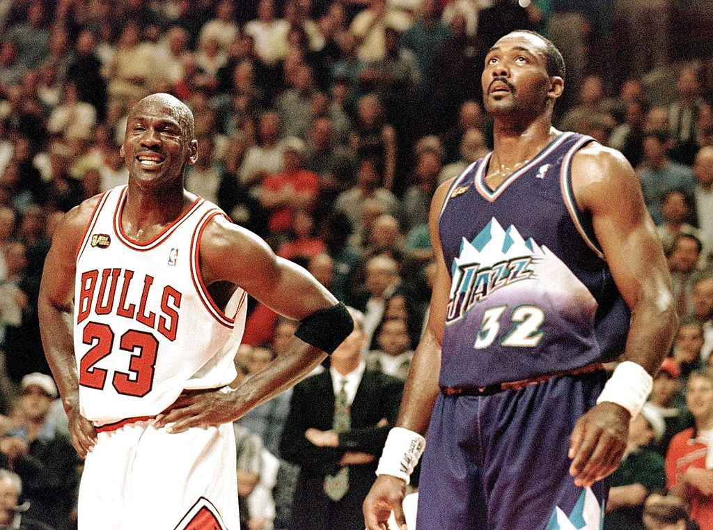 Michael Jordan and Karl Malone battle in the 1998 NBA Finals.