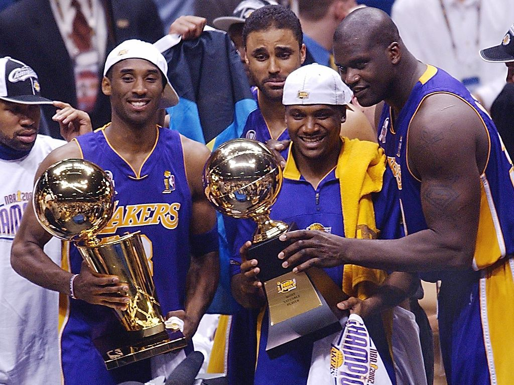 The Los Angeles Lakers celebrate winning the 2002 NBA Finals.