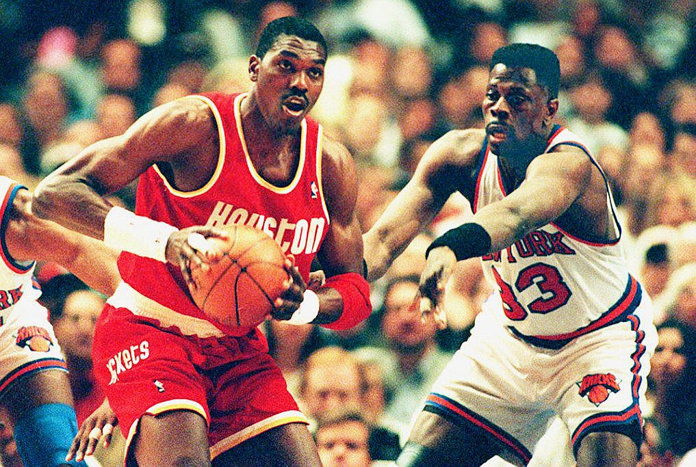 The Rockets and Knicks fight for dominance during the 1994 NBA Finals.