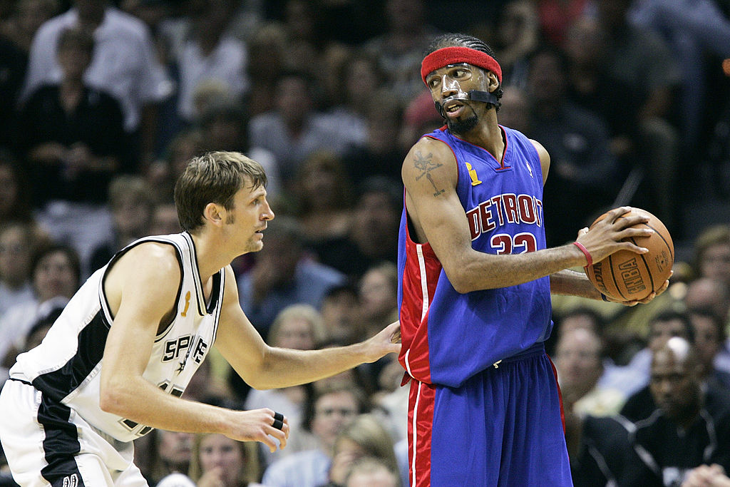 The Pistons and Spurs battle in the 2005 NBA Finals.