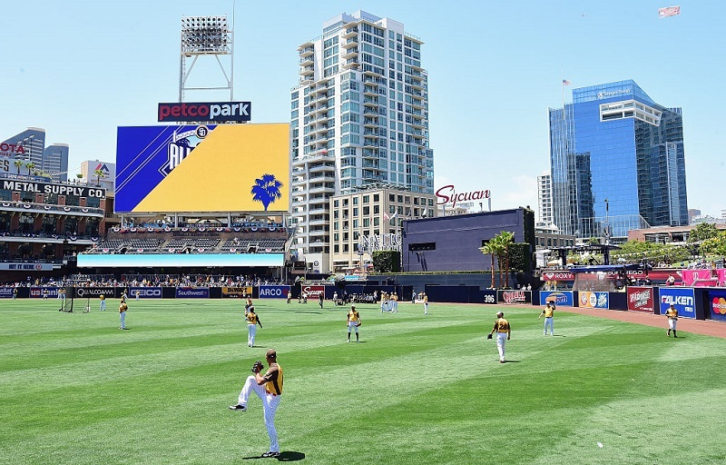 Players warm up during the 2016 Annual MLB All-Star Game at Petco Park in San Diego.