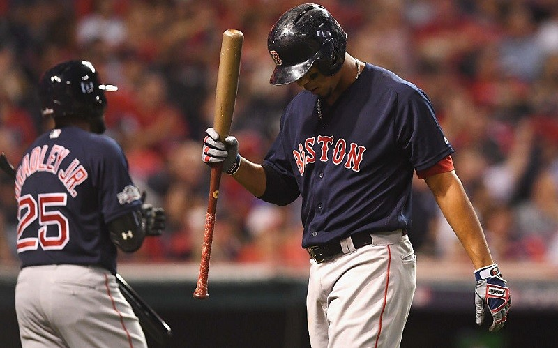 Xander Bogaerts reacts during the ALDS.