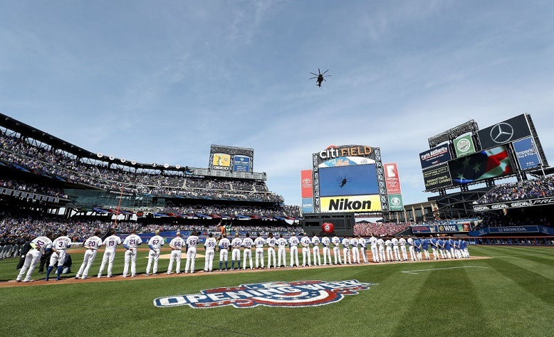Shot of players line up during Opening Day on April 3, 2017 at Citi Field in New York.