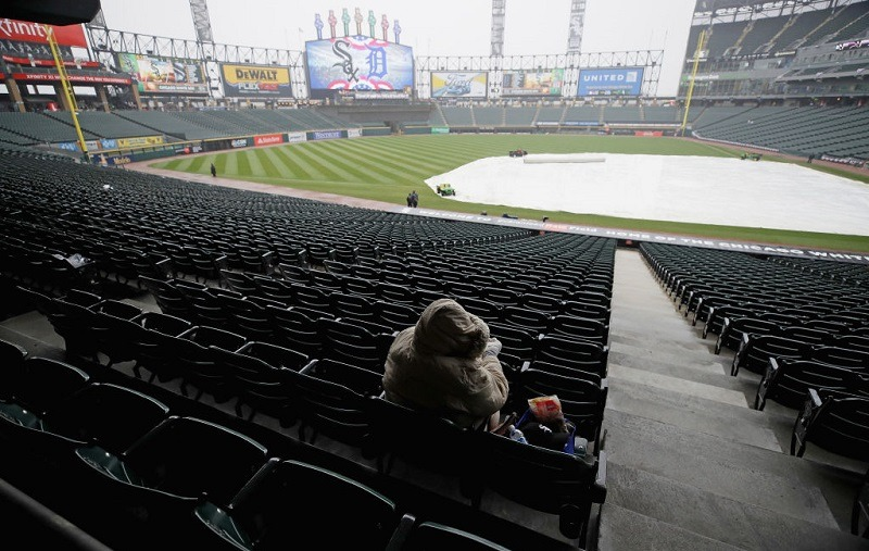 View of a rain delay at an empty Guaranteed Rate Field on Opening Day 2017