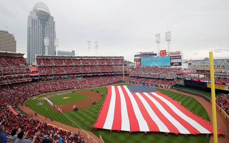 A view of the Cincinnati Reds' pregame ceremonies on Opening Day in 2017