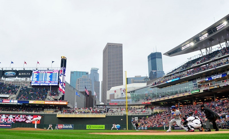 Ervin Santana of the Minnesota Twins delivers the first pitch of a game against the Royals.