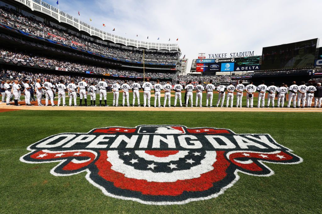 Shot of players lining up during the New York Yankees home Opening game at Yankee Stadium on April 10, 2017 in New York City.