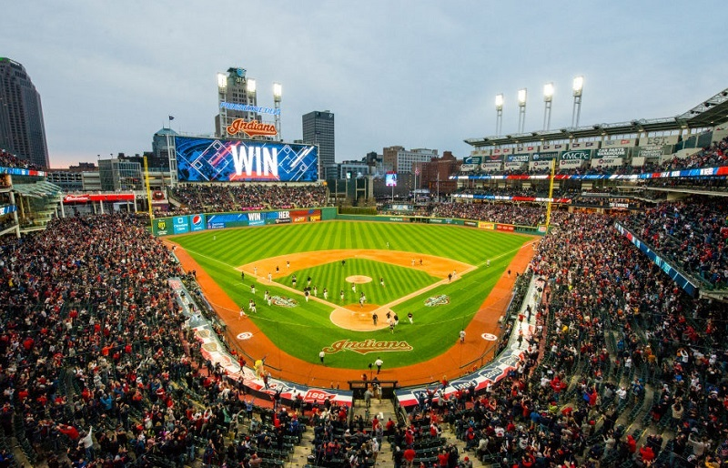 A shot of Progressive field during the Cleveland Indians' home opening game.