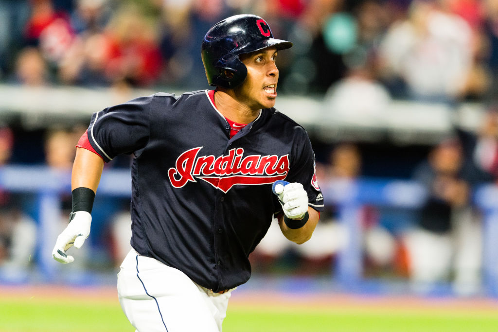Michael Brantley rounds the bases after hitting a home run.