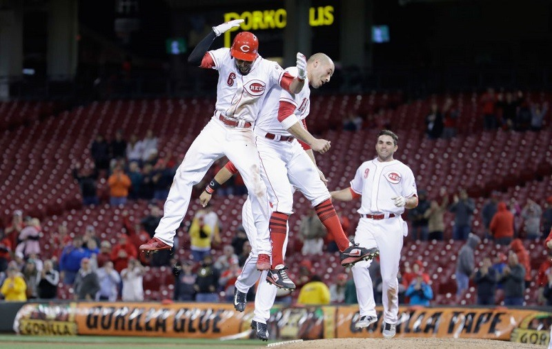 Billy Hamilton and Joey Votto celebrate at Great American Ball Park in 2017.