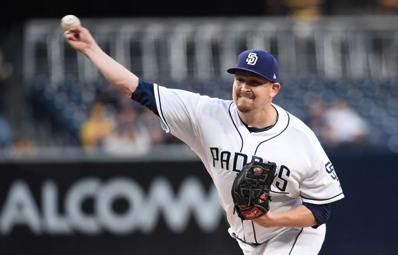 Trevor Cahill of the San Diego Padres pitches against the Colorado Rockies.