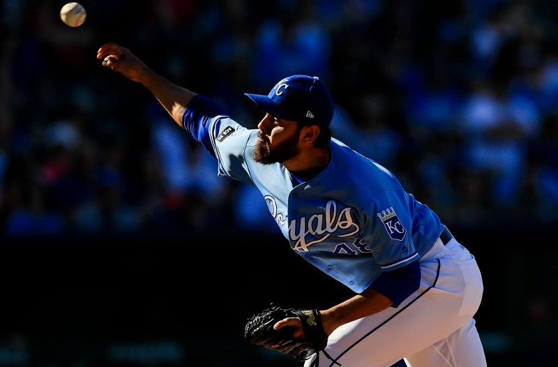 Joakim Soria of the Kansas City Royals pitches against the Cleveland Indians.