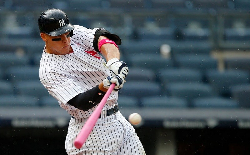Shot of Judge with a pink bat in Mother's Day 2017 at Yankee Stadium