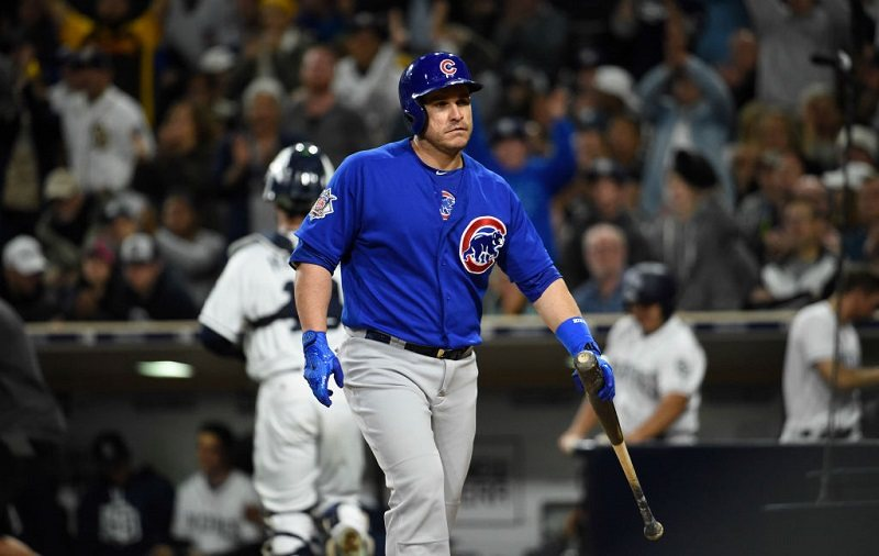 Miguel Montero of the Chicago Cubs walks back to the dugout.