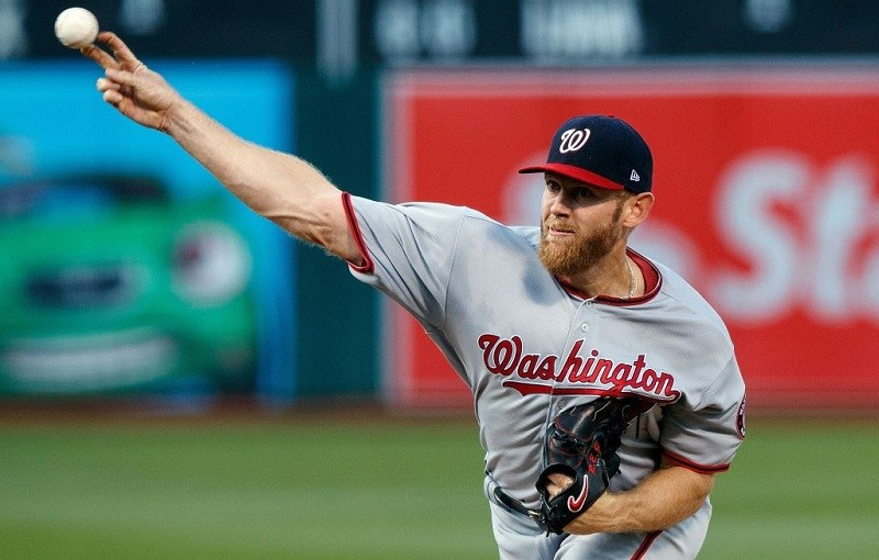 Stephen Strasburg of the Washington Nationals pitches against the Oakland Athletics on June 2, 2017.