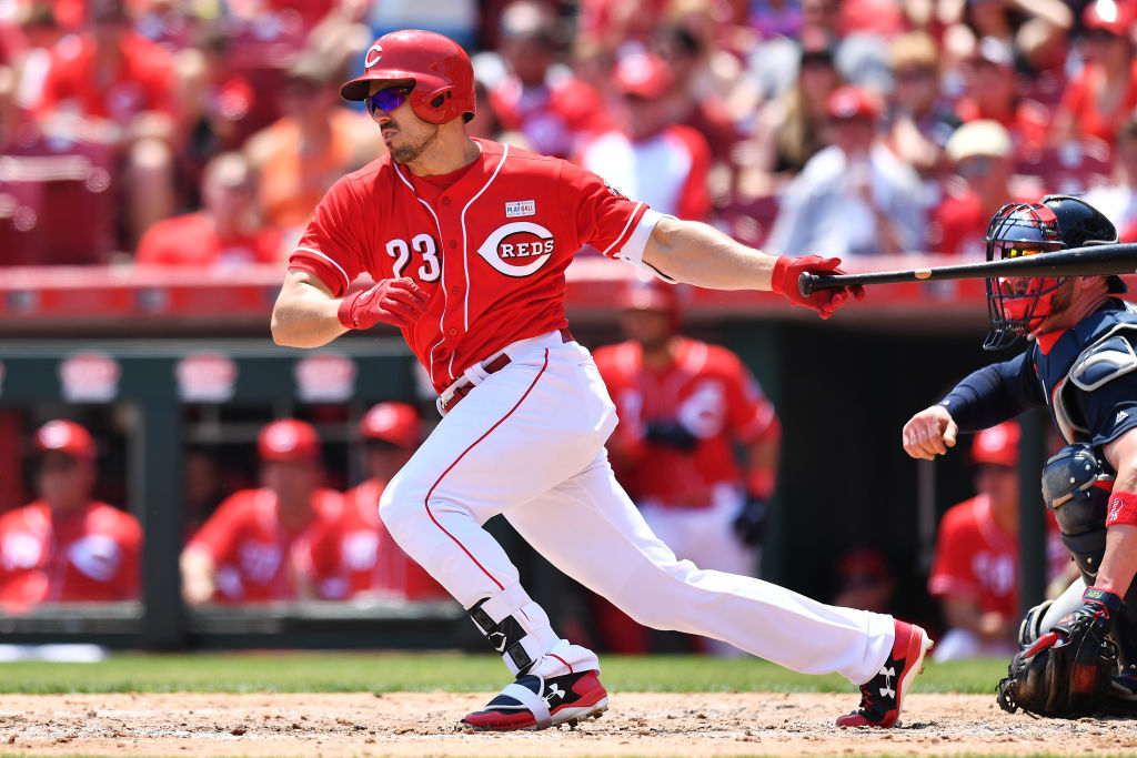 Adam Duvall swings and begins to run.