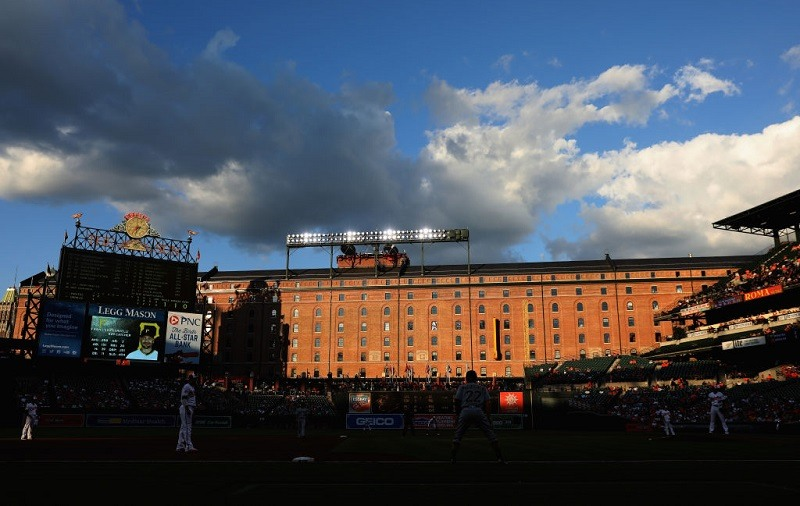 Shot of Baltimore's Camden Yards with the old brewery in the background