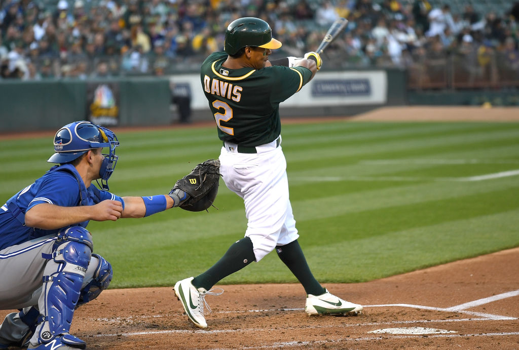 Khris Davis swings for the fences.