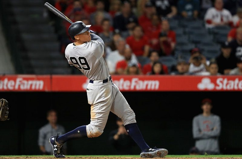 Shot of Aaron Judge connecting for a 436-foot home run that won the game in Anaheim against the Angels on June 12, 2017.