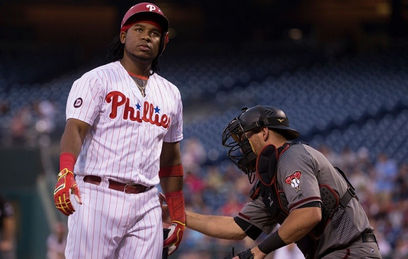 Maikel Franco of the Philadelphia Phillies looks on after striking out.