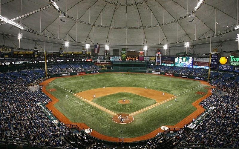 A general view shows the Tampa Bay Devil Rays game against the Oakland Athletics at Tropicana Field.