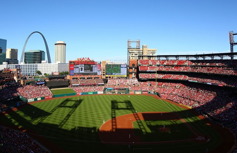 A sunny view of Busch Stadium during a St. Louis Cardinals game