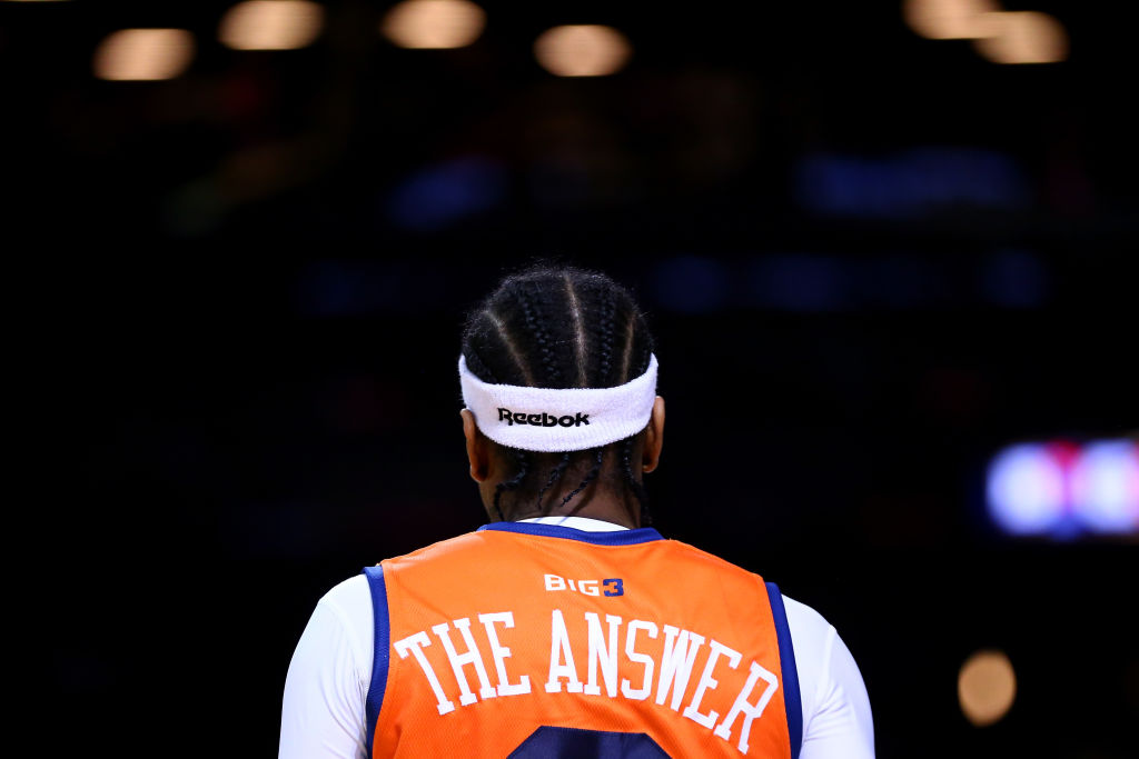 "Allen Iverson wears his BIG3 ""The Answer"" jersey."