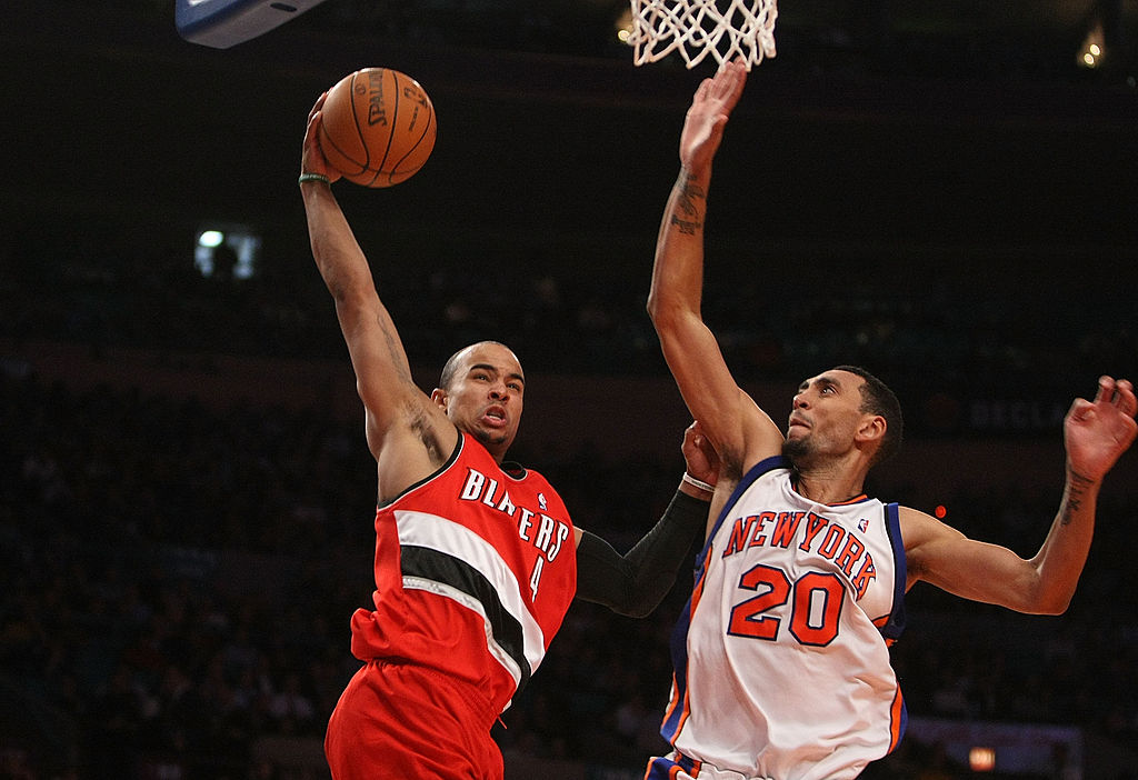 Jared Jeffries goes up for the block.