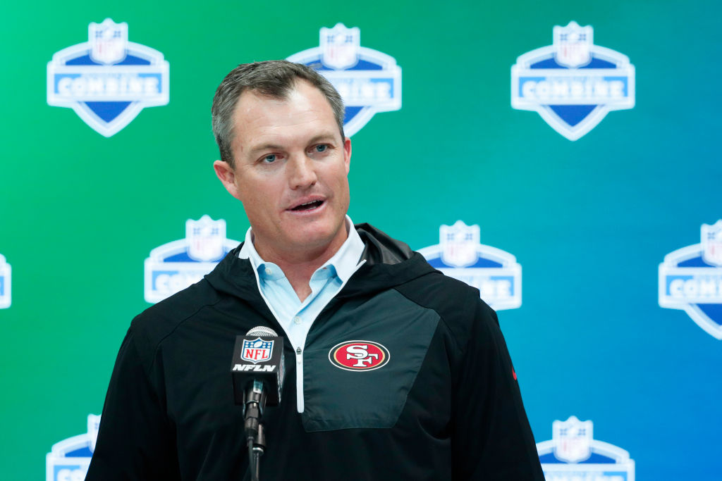 General manager John Lynch of the San Francisco 49ers answers questions from the media.