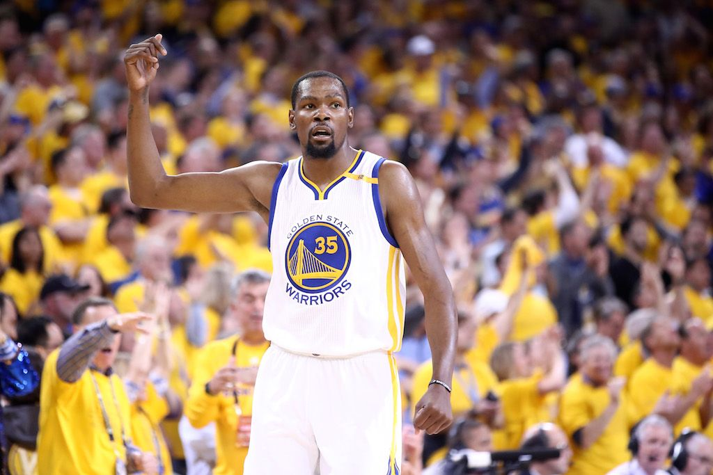 Kevin Durant reacts to a bucket in the Finals.