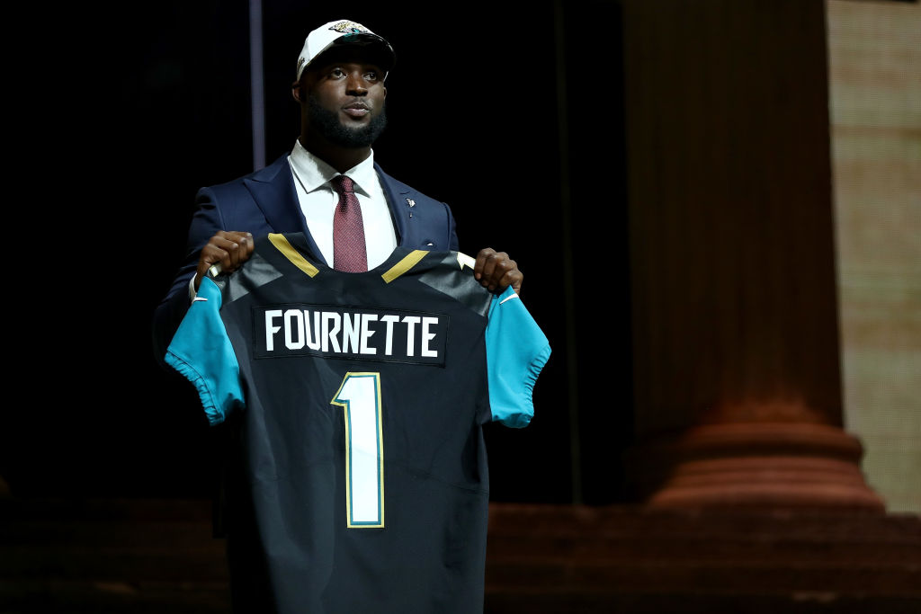 Leonard Fournette of LSU reacts after being picked No. 4 overall.