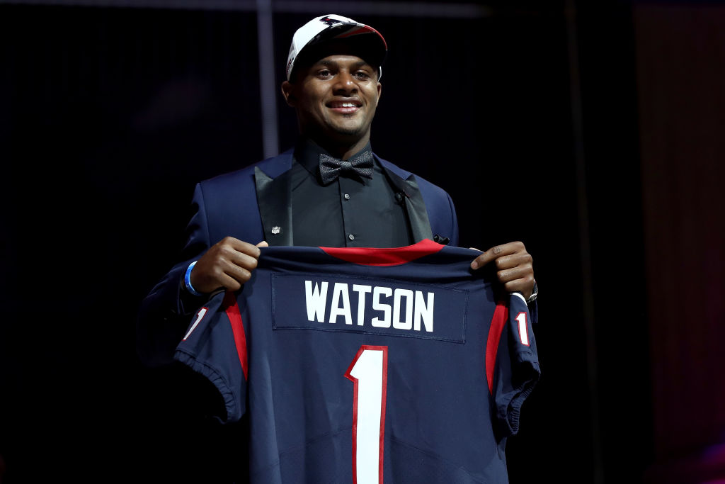 Deshaun Watson of Clemson reacts after being picked No. 12 overall.