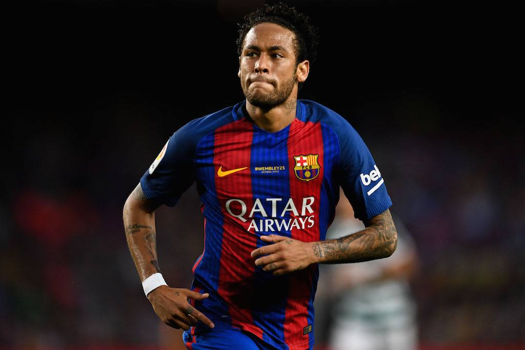 Neymar playing for Barcelona.