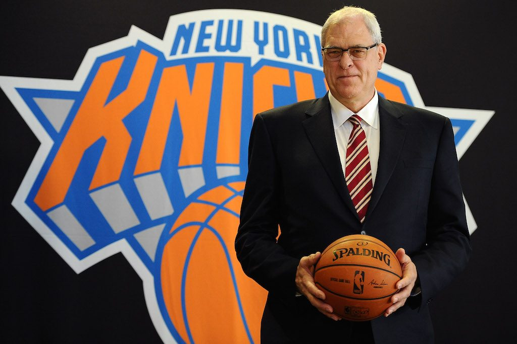 Phil Jackson stands for photos during his introductory press conference as President of the New York Knicks in 2014.