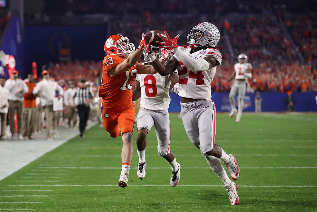 Malik Hooker of the Ohio State Buckeyes intercepts a pass.
