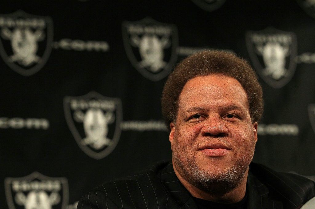 Raiders General Manager Reggie McKenzie looks on during a press conference.