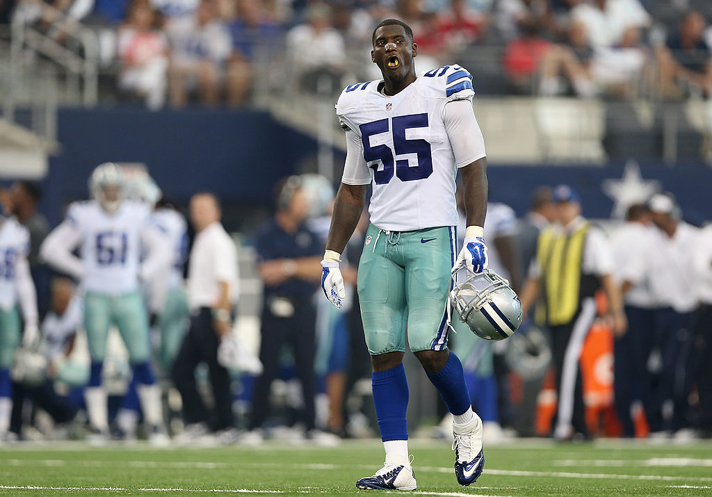 Linebacker Rolando McClain of the Dallas Cowboys walks across the field.