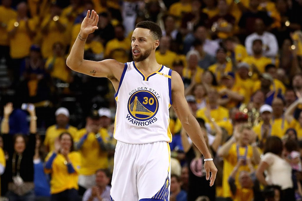 Steph Curry reacts during Game 2 of the 2017 NBA Finals.