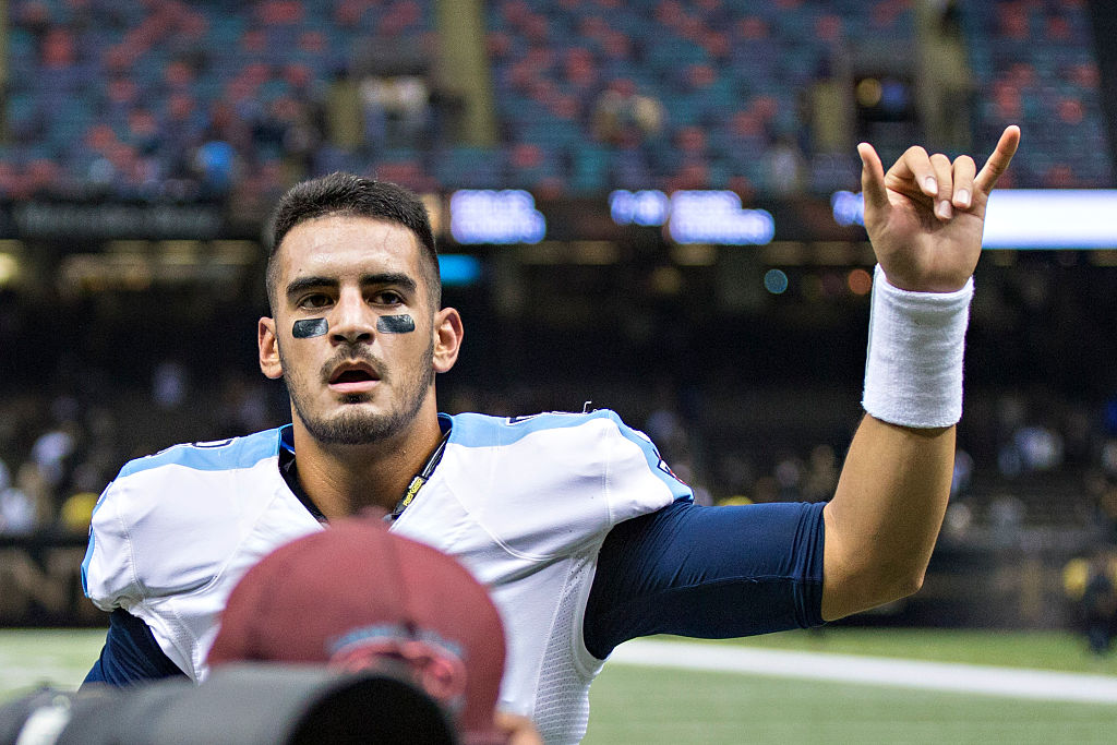 Marcus Mariota of the Tennessee Titans signals to the crowd.