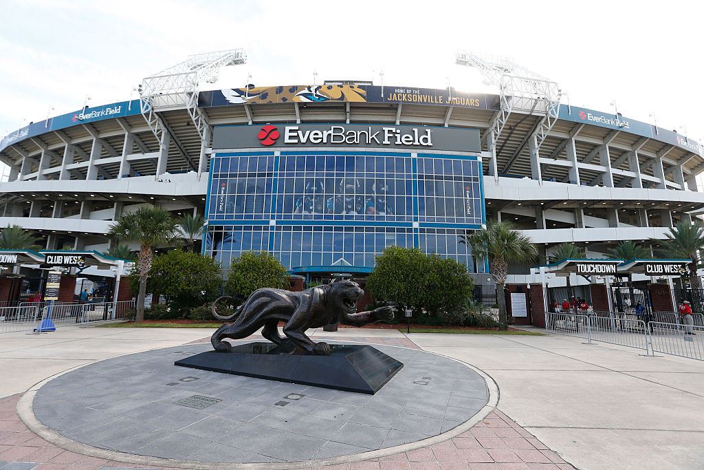 A jaguar statue flanks the front entrance of EverBank Field.