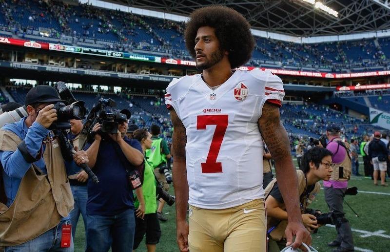 Quarterback Colin Kaepernick #7 of the San Francisco 49ers walks off the field.