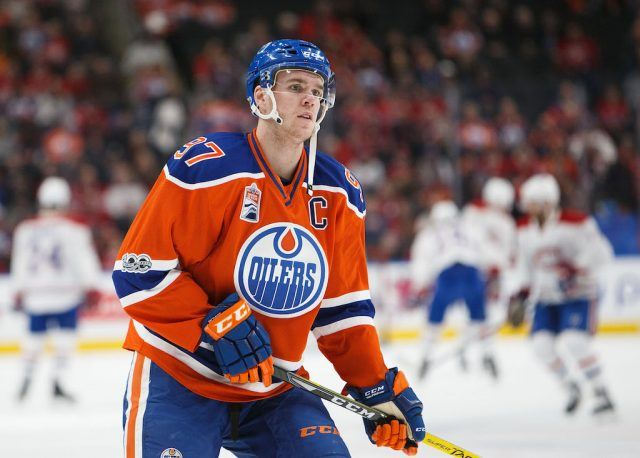 Connor McDavid warms up before a game.