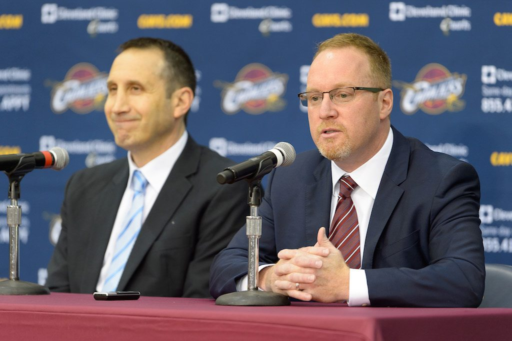 David Griffin (R) and David Blatt chat with the media.