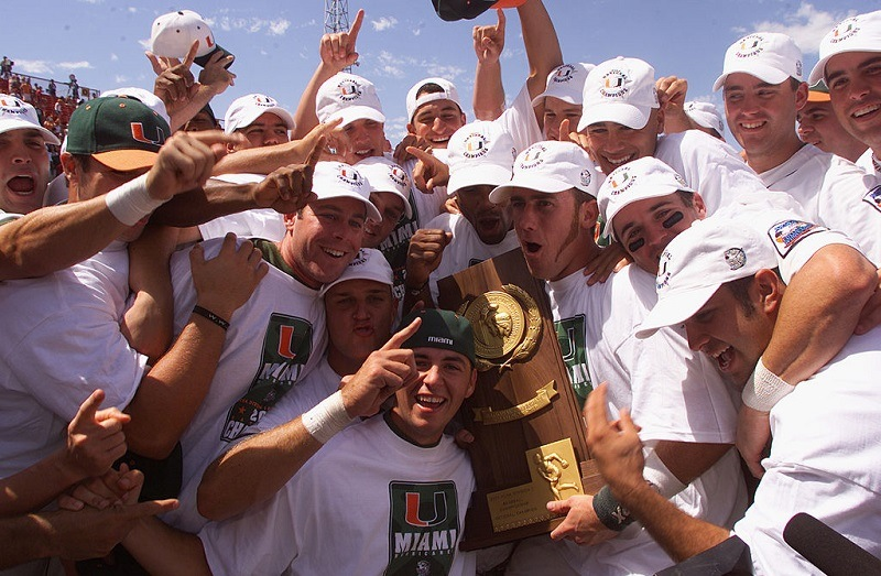 The Miami Hurricanes hold up the NCAA trophy after their win over the Stanford Cardinals in the 2001 College World Series.